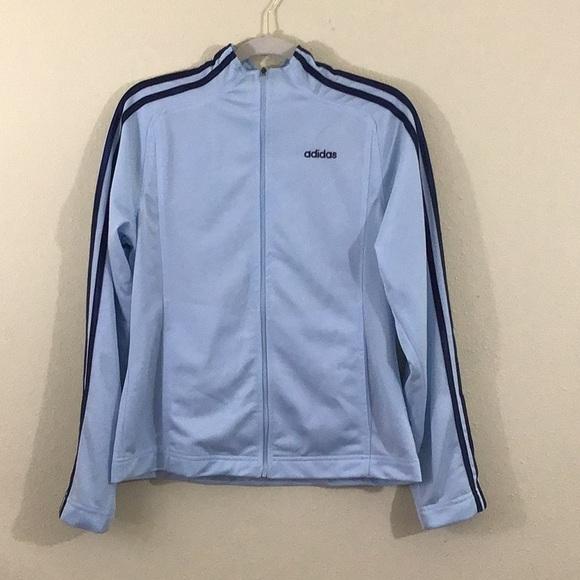 Adidas Light Blue Zipper Track Jacket Medium